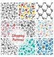 Shopping retail seamless patterns set vector image
