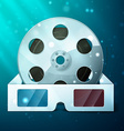 three d glasses and film reel vector image