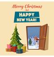 Open door Christmas tree Cartoon vector image vector image