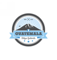 Antigua Guatemala badge with volcano Agua Patch vector image