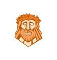 Jesus Christ Face Crown Thorns Retro vector image