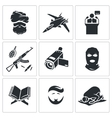 Crime and religion Icons Set vector image