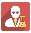 Scientist With Flask Flat Rounded Square Icon with vector image