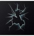 Cracks on broken window with cracks vector image
