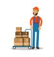 delivery postman delivering parcels on a trolley vector image