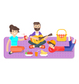 flat style of happy family picnic in the park with vector image