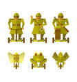 robots on gyroscooters flat concept icons vector image