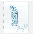 sketch of a mojito cocktail on notebook sheet vector image