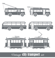 Vintage city transport vehicles set vector image
