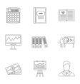 Earnings icons set outline style vector image