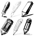 Collection of pens and pencils vector image vector image