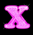 X letter pink bling girly vector image