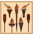 Set ornamental blazing torches elements greek vector image