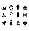 Christmas black icons with shadow set vector image