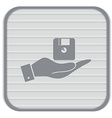 hand holding a floppy diskette symbol store vector image