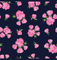 seamless pattern on dark blue background rose vector image