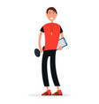 trainer in sport gym with dumbbell whistle on neck vector image