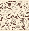 vintage pizza slices seamless pattern vector image