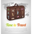 Vintage suitcase with collection of travel labels vector image