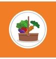 assorted vegetables emblem image vector image
