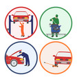 car repair and maintenance vehicle workshop vector image