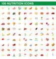 100 nutrition icons set cartoon style vector image
