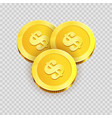 gold shiny coins with dollar signs isolated vector image