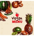 Eco food vegetarian menu background Watercolor vector image