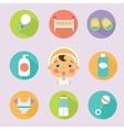 Baby treatment flat icons set vector image
