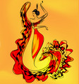 figure of flamenco dancer girl vector image