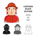 firefighter icon in cartoon style isolated on vector image