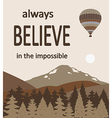 Hot air balloon over forest vector image