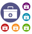 medicine chest icons set vector image