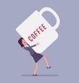 woman carrying giant coffee mug vector image