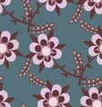 Blue seamless pattern with pink flowers vector image