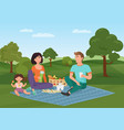 happy young family with kid on a picnic dad mom vector image