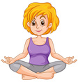 Middle aged woman doing yoga vector image