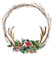 watercolor christmas wreath vector image vector image