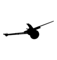 Artillery gun silhouette Howitzer icon vector image