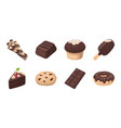 chocolate dessert icons in set collection for vector image