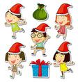 Christmas theme set with kids and presents vector image