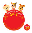 happy chinese new year 2018 texts with dogs vector image