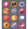 marketing icon set with long shadow effect vector image