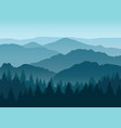 misty blue mountain silhouettes background vector image