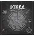 Pizza with salami scetch on a black board vector image
