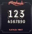 Retro Vintage Label Font Grunge Numbers vector image