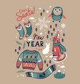 set with cute winter elements in cartoon style vector image