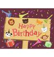 Animal Birthday Board Cartoon vector image