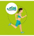woman run sport health vector image