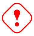 red rhomb exclamation mark icon warning sign vector image